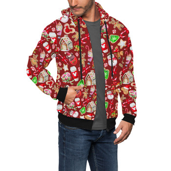 Men's Zip Up Hoodie - Disney Christmas Snack Goals