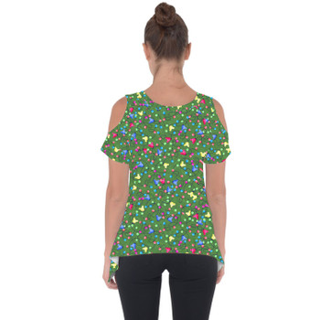 Cold Shoulder Tunic Top - Mouse Ears Christmas Lights