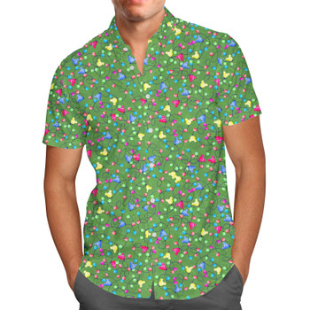 Men's Button Down Short Sleeve Shirt - Mouse Ears Christmas Lights