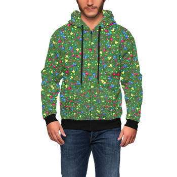 Men's Zip Up Hoodie - Mouse Ears Christmas Lights