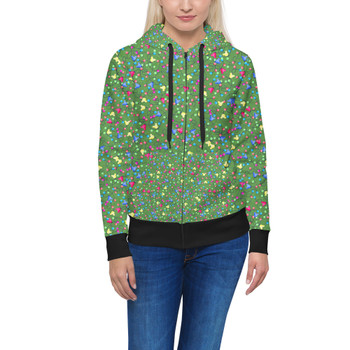 Women's Zip Up Hoodie - Mouse Ears Christmas Lights