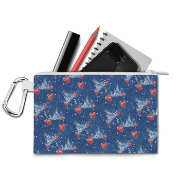 Canvas Zip Pouch - Snowy Cinderella Castle