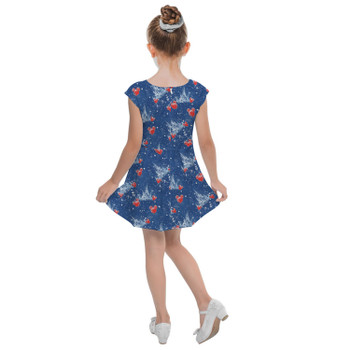Girls Cap Sleeve Pleated Dress - Snowy Cinderella Castle