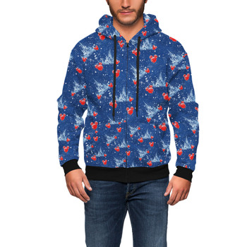 Men's Zip Up Hoodie - Snowy Cinderella Castle
