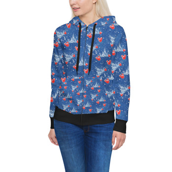 Women's Zip Up Hoodie - Snowy Cinderella Castle