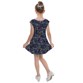 Girls Cap Sleeve Pleated Dress - Fireworks