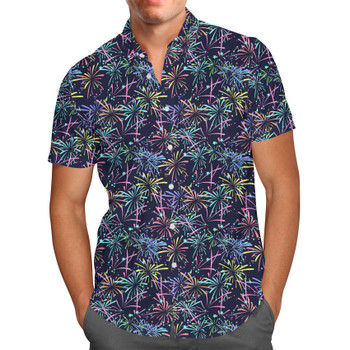 Men's Button Down Short Sleeve Shirt - Fireworks