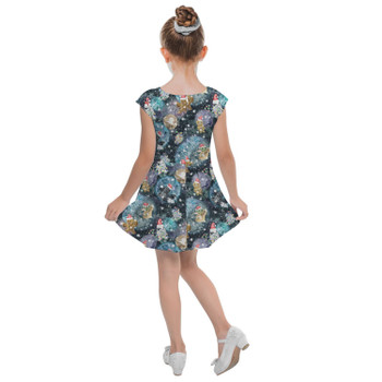 Girls Cap Sleeve Pleated Dress - A Christmas Far Far Away