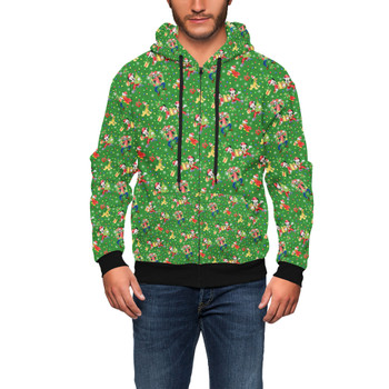 Men's Zip Up Hoodie - Mickey & Friends Celebrate Christmas