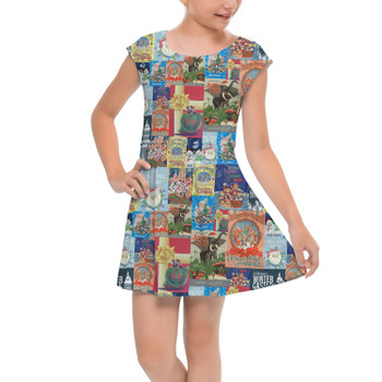 Girls Cap Sleeve Pleated Dress - Holiday Attraction Posters Disney Parks
