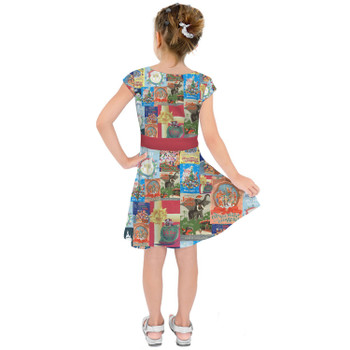 Girls Short Sleeve Skater Dress - Holiday Attraction Posters Disney Parks