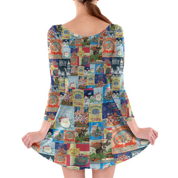 Longsleeve Skater Dress - Holiday Attraction Posters Disney Parks