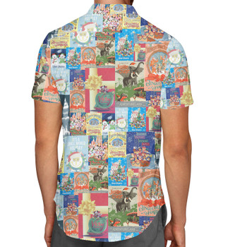 Men's Button Down Short Sleeve Shirt - Holiday Attraction Posters Disney Parks