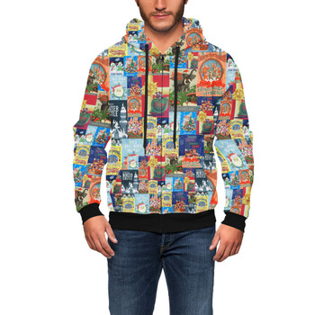 Men's Zip Up Hoodie - Holiday Attraction Posters Disney Parks