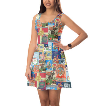 Sleeveless Flared Dress - Holiday Attraction Posters Disney Parks