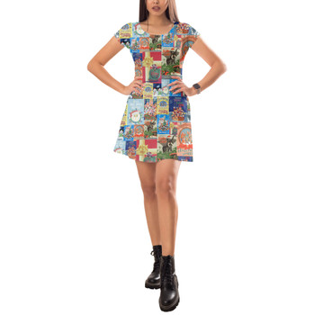 Short Sleeve Dress - Holiday Attraction Posters Disney Parks