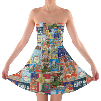 Sweetheart Strapless Skater Dress - Holiday Attraction Posters Disney Parks