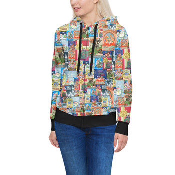 Women's Zip Up Hoodie - Holiday Attraction Posters Disney Parks