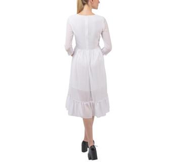 Ruffle Skirt Chiffon Midi Dress