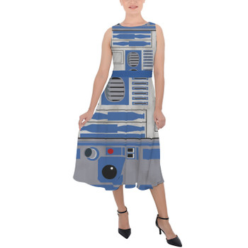 Belted Chiffon Midi Dress - Little Blue Droid