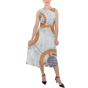 Belted Chiffon Midi Dress - Little Round Droid