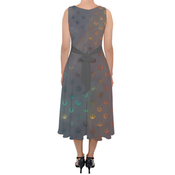 Belted Chiffon Midi Dress - Galaxy Far Away