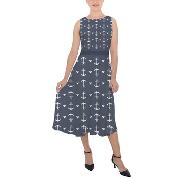 Belted Chiffon Midi Dress - Anchors Mouse Ears
