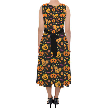 Belted Chiffon Midi Dress - Halloween Mickey Pumpkins
