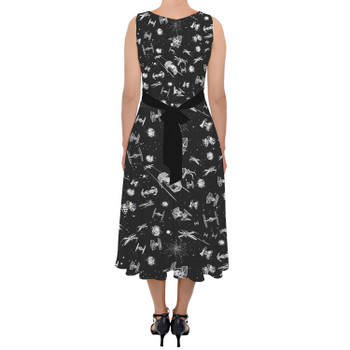 Belted Chiffon Midi Dress - Space Ship Battle Star Wars Inspired