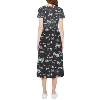 High Low Midi Dress - Space Ship Battle Star Wars Inspired
