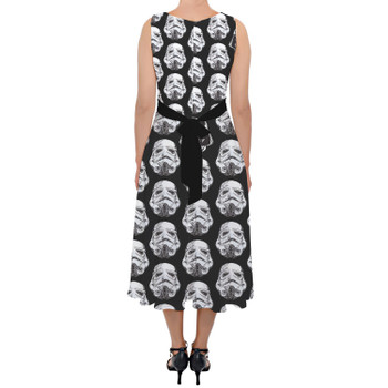 Belted Chiffon Midi Dress - Vader & Storm Trooper Helmets SW Inspired