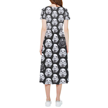 High Low Midi Dress - Vader & Storm Trooper Helmets SW Inspired