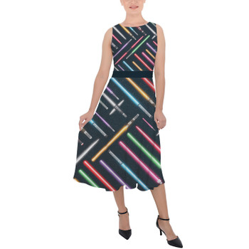 Belted Chiffon Midi Dress - Lightsabers Star Wars Inspired