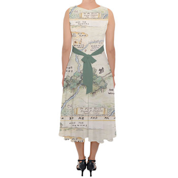Belted Chiffon Midi Dress - Hundred Acre Wood Map Winnie The Pooh Inspired