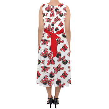 Belted Chiffon Midi Dress - Minnie Bows and Mouse Ears