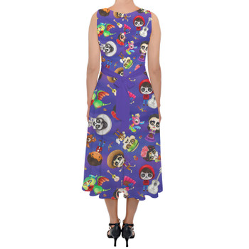 Belted Chiffon Midi Dress - Poco Loco Coco Inspired