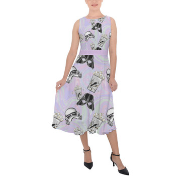 Belted Chiffon Midi Dress - Star Wars Popcorn