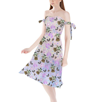 Strapless Bardot Midi Dress - The Asset Goes To Disney SW Inspired Watercolor