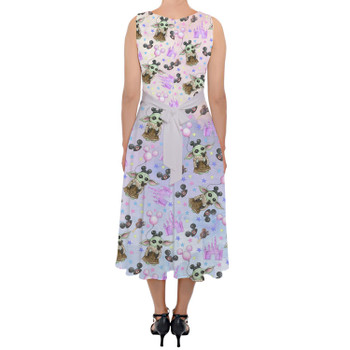 Belted Chiffon Midi Dress - The Asset Goes To Disney SW Inspired Watercolor