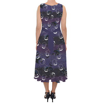 Belted Chiffon Midi Dress - Oogie Boogie Halloween Inspired