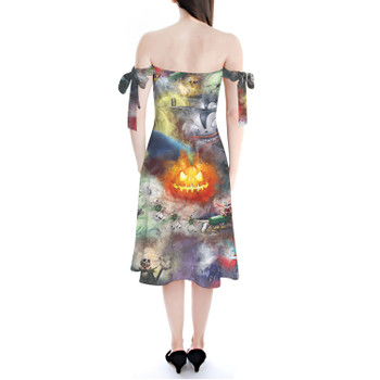 Strapless Bardot Midi Dress - Watercolor Nightmare Before Christmas