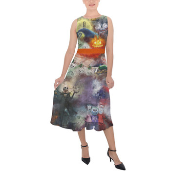 Belted Chiffon Midi Dress - Watercolor Nightmare Before Christmas
