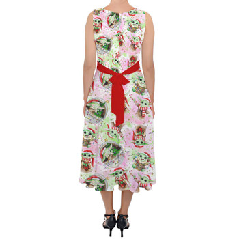 Belted Chiffon Midi Dress - The Asset Does Christmas