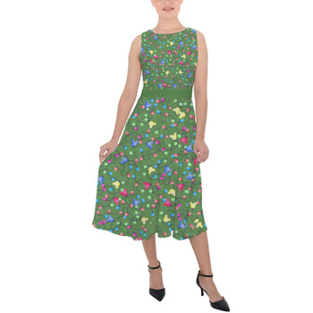 Belted Chiffon Midi Dress - Mouse Ears Christmas Lights