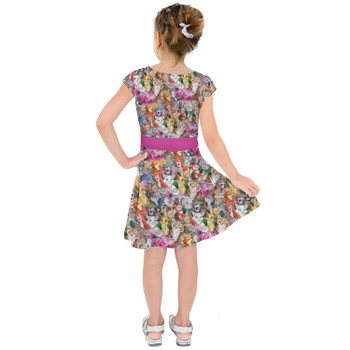 Girls Short Sleeve Skater Dress - Cats of Disney