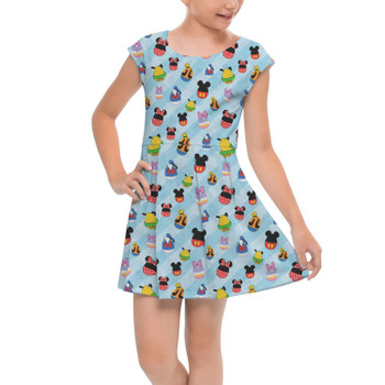 Girls Cap Sleeve Pleated Dress - Mickey & Friends Easter Eggs