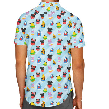 Men's Button Down Short Sleeve Shirt - Mickey & Friends Easter Eggs