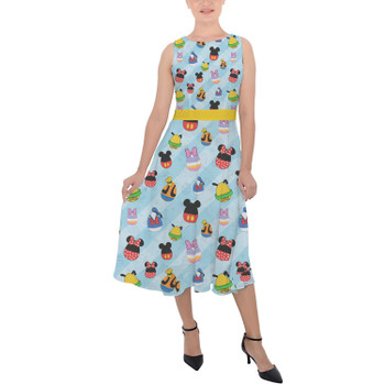Belted Chiffon Midi Dress - Mickey & Friends Easter Eggs