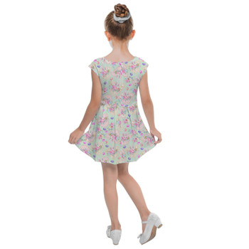 Girls Cap Sleeve Pleated Dress - Mouse Ears Easter Bunny