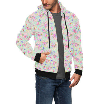 Men's Zip Up Hoodie - Mouse Ears Easter Bunny